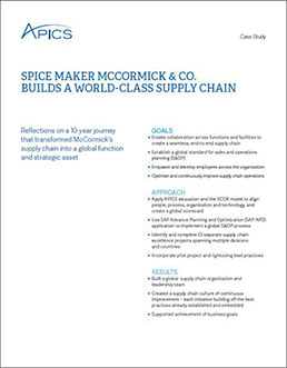 Spice Maker McCormick & Co. Builds a World-Class Supply Chain