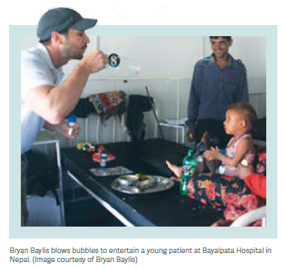 Merck employee volunteering at Bayalpata Hospital