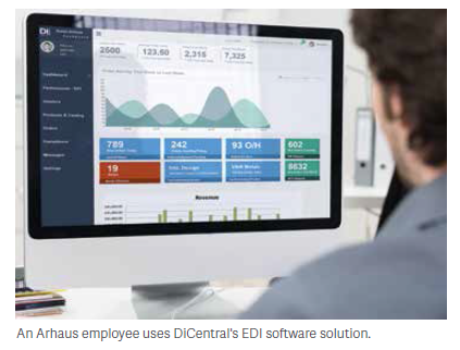 An Arhaus employee uses DiCentral's EDI software solution.